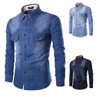 XS- 4XL Mens Designer Denim Casual Dress Shirts Long Sleeve Slim Fit Jeans Tops