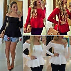 Sexy Fashion Long Sleeve Loose Lady Casual Women T-Shirt Off Shoulder Top Blouse