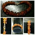 Vtg. Natural  Amber  Graduated Brecelet with 14K GF lock-10.5gr/ FREE Shipping