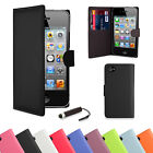 PU Leather Wallet Case Cover For Apple iPhone Models + Screen Protector & Stylus
