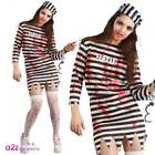 Zombie Convict Costume Ladies Halloween Prison Horror Chain Gang Sizes UK 6-24