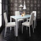 Glass Dining Table and 4 Chairs Set