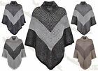 Ladies New High Funnel Neck Poncho Womens Knitted Cape Stripe Pattern