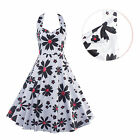 Women Flower Printed Vintage Swing Cocktail Party Sleeveless Backless Dress