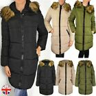 Womens Ladies Quilted Long Winter Coat Padded Puffer Fur Collar Hooded Jacket