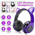 Bluetooth Wireless Cat Rabbit Ear Headsets LED w/Mic Headphones For Kids Girls