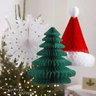 MIXED CHRISTMAS HONEYCOMB HANGING DECORATIONS - Snowflake, Xmas Tree, Santa Hat