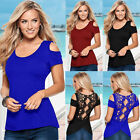 Summer Women's Short Sleeve Off Shoulder Casual Tops Lace Blouse T-Shirt Tee New