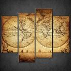 GRUNGE MAP VINTAGE SPLIT CANVAS PRINT PICTURE WALL ART FREE UK POSTAGE