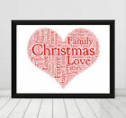 CHRISTMAS HEART Word Art Printed Poster / Greetings Card Personalised Gift