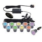 10 x Multi Colour RGB LED Round Outdoor Garden Recessed Decking Lights Kit IP67