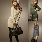 Womens Warm Long Sleeve Casual Pullover Sweater Shirt V Neck Knitted Slim Party