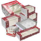 Christmas Cake Boxes - Xmas Design Single Piece Box with Window
