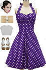 PLUS SIZE 50s Style GRAPE SODA PPL & POLKA DOTS Pinup Betty HALTER TOP Sun Dress