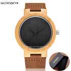 Fashion Mens Wood Natural Wooden Analog Cowhide Leather Wrist Watches Star Black