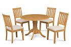 """42"""" Round Table Dinette Dining Room Kitchen Set W. Soft-padded Seat In Oak"""