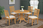 "42"" ROUND TABLE DINETTE DINING ROOM KITCHEN SET W. SOFT-PADDED SEAT IN OAK"
