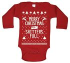 Merry Christmas Sh*Tters Full Baby Funnycutekids Red Long Sleeve Baby One Piece