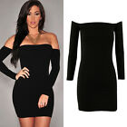 New Womens Ladies Long Sleeve Off Shoulder Patchwork Bodycon Cocktail Dress