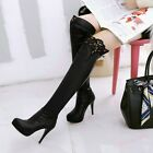 Sexy Ladies Stiletto Heels Faux Leather Zipper Clubwear Party Over the Knee Boot
