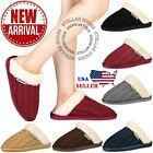 Women's Knitted Fur Trim Winter Warm Indoor Comfy Slip On Mule Clog Slippers