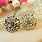 Korean long Hollow-Out Flower Model Necklace Rhine Stone Inlaid Necklace Alloy