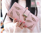NEW Fashion Womens Ladies Girls Long Clutch ID Card Wallet Coin Purse Leaves