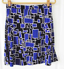DKNY BLUE MULTI COLOR GEOMETRIC CASUAL POLYESTER A-LINE GORE KNEE SKIRT S M NEW