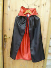 CLAIRES REVERSIBLE BLACK RED VAMPIRE DRACULA HALLOWEEN COLLARED CAPE CLOAK BNWT