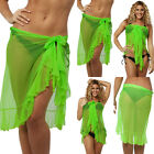 FLAMENCO COVER UP canga pareo sheer mesh wrap RUFFLES MULTI WAY SARONG