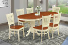 """42"""" x 78"""" OVAL DINETTE DINING ROOM TABLE SET WOODEN SEAT IN BUTTERMILK & CHERRY"""
