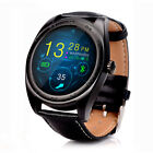 New Bluetooth Smartwatch Round Heart Rate Monitor Leather Watch for Android iOS