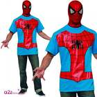 MENS SPIDER-MAN T-SHIRT & SNOOD ADULT LICENSED SUPERHERO FANCY DRESS ACCESSORY