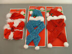 SANTA HAT COLLAR SCARF PET DOG APPAREL RED WHITE BLUE SPARKLE TINSEL HOLIDAY NIP
