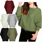 Womens Ribbed Ladies Oversized Loose Baggy Fit Batwing Jumper Tunic Dress Top