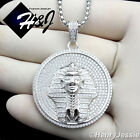 """925 STERLING SILVER ICED EGYPTIAN PHARAOH PENDANT+18-36""""X3MM BOX LINK CHAIN*SP63"""
