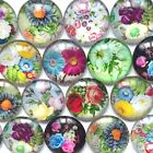 10-16mm Round Photo Glass Flatback Cabochon Mixed Flower Pattern Cameo Jewelries