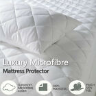 """Microfibre Quilted Elasticated Fitted Mattress Bed Protector 10"""" / 16"""" Deep"""