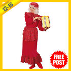 Ladies Costume Fancy Dress Up RD Christmas Traditional Mrs Claus XMAS Sz12-16