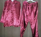 New Village Faire royal red Satin Pajama set/ lounge wear sz L 16/18 or XL 38/40