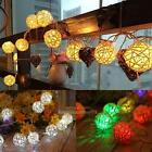 1.2M 10LED Rattan Ball LED String Lighting Garden Party Xmas Decor Light lamp
