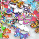 New 10/50/100/500pcs Mix Print Butterfly Sewing Craft 2 Holes Wood Buttons W175