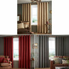 Catherine Lansfield Brushed Heritage Lined Plain Eyelet Curtains Thick Fabric image