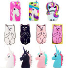 3D Cartoon Soft Silicone Gel Rubber Cover Case For iPhone Samsung Huawei Motoro