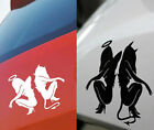 "(#52) ANGEL DEVIL GIRL Sticker 6 x 2.75"" for Car Truck Motorcycle - Blk or White"