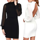MTN Womens Ladies Long Sleeve Halter Sexy Back Hollow Pack Hip Cocktail Dress