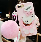 Cute Hello Kitty Mirror Plush Ball Strap Soft Case Cover for iPhone 6 6S 7 Plus