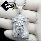 """925 STERLING SILVER ICED OUT JESUS FACE PENDANT+18-36""""X4MM BOX LINK CHAIN*SP29"""