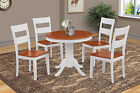"36"" BROOKLINE ROUND TABLE DINETTE DINING ROOM CHAIR SET IN WHITE & CHERRY"