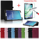 Leather Smart Case Cover+Screen Protector For Samsung Galaxy Tab E 9.6 / 8.0